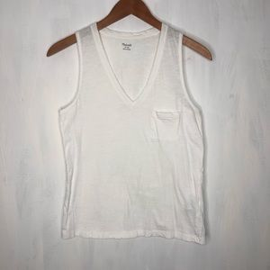 Madewell White V-Neck Pocket Muscle Tee XS